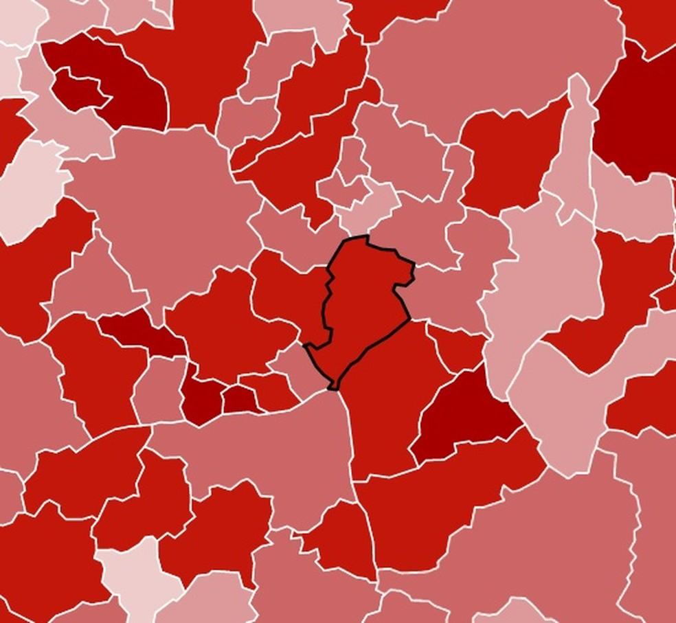 Concentração de mortes por Covid-19 por 100 mil habitantes na região metropolitana de Belo Horizonte. — Foto: G1 arte