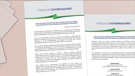 Governadores divulgam carta de apoio à manutenção de estados na reforma da Previdência