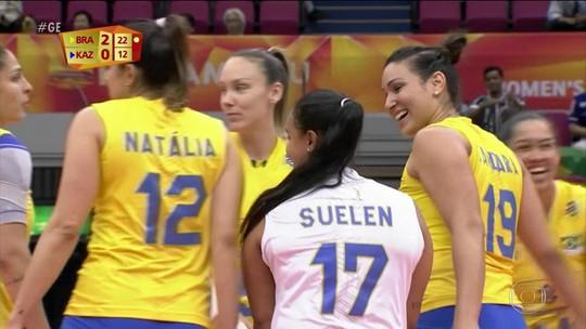 Brasil vence fácil o Cazaquistão pelo Mundial de Vôlei Feminino