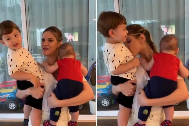 Andressa Suita com os filhos, Gabriel e Samuel (Foto: Reprodução/Instagram)