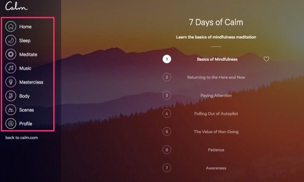 Outros conteúdos em áudio disponíveis no serviço online Calm ? Foto: Reprodução/Marvin Costa