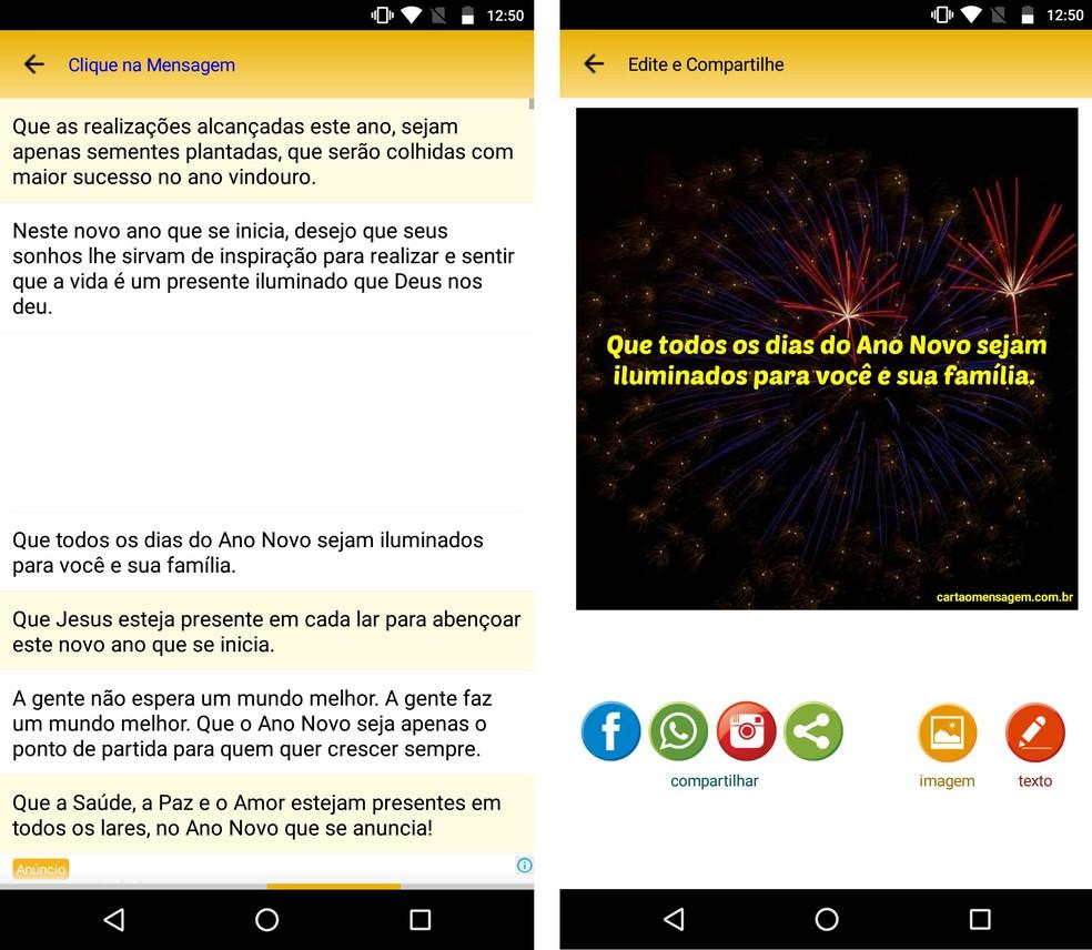 App Mensagens e Stickers de Natal e Ano Novo tem frases prontas para enviar no Réveillon — Foto: Reprodução/Rodrigo Fernandes