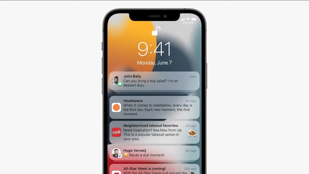 iOS 15: notificações ganham nova visualização — Foto: Reprodução/Apple