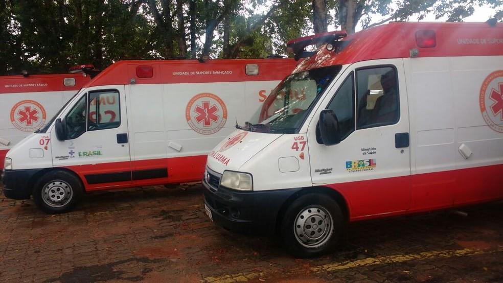 Ambulâncias estacionadas no pátio do Samu Metropolitano do RN (Foto: Sindsaúde/divulgação)