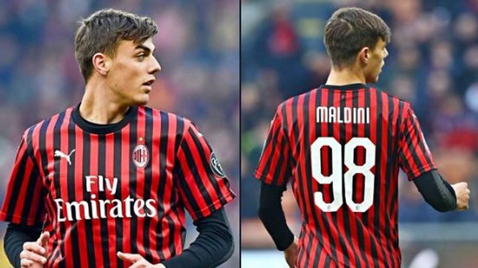 Daniel Maldini em ação pelo Milan diante do Verona — Foto: Reuters