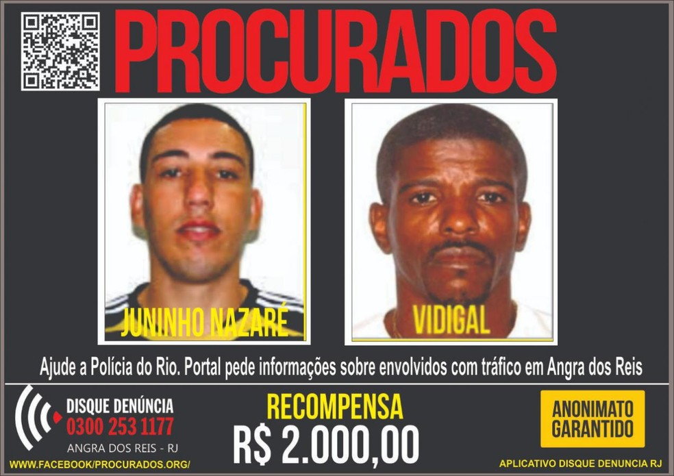 Suspeitos estão sendo procudados em Angra dos Reis — Foto: Divulgação/Disque Denúncia