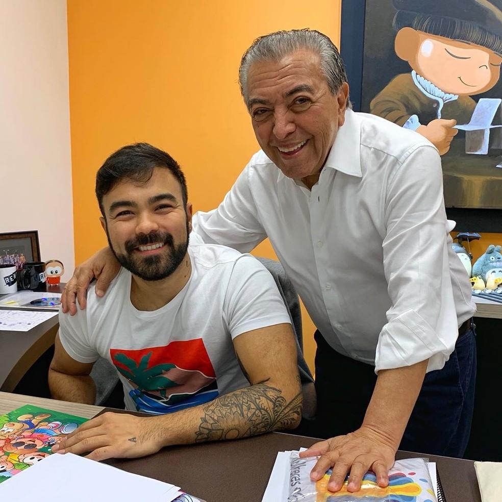 Mauro Souza com o pai, Mauricio de Souza — Foto: Reprodução/Instagram