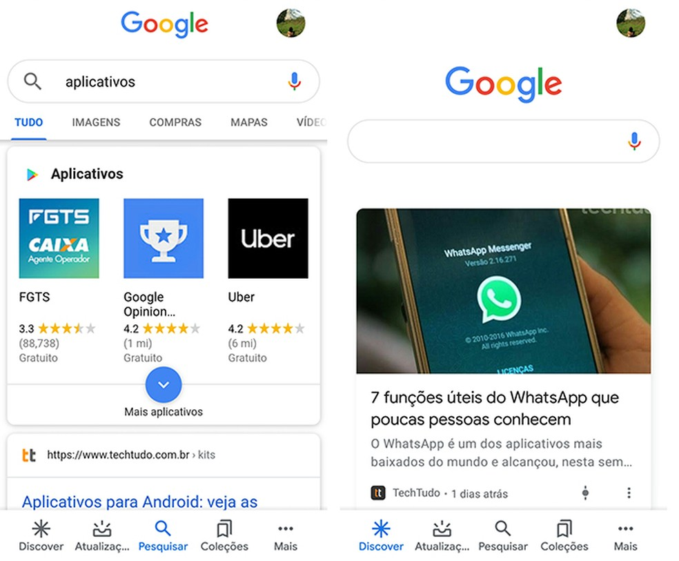 Acompanhe notícias de seu interesse no Google App — Foto: Reprodução/Marcela Franco