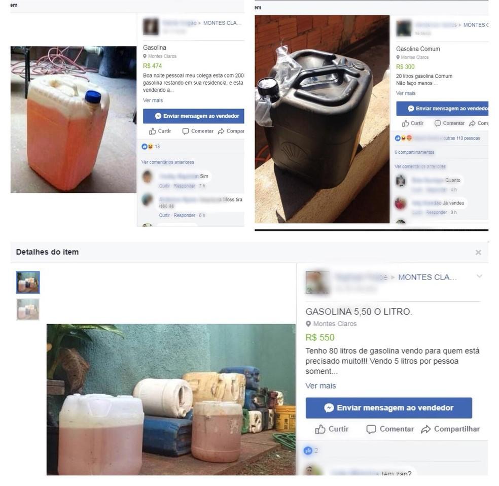 Em grupo de compra e venda nas redes sociais, internautas oferecem combustível estocado (Foto: Reprodução/Facebook)