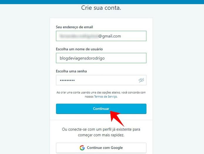 Informe e-mail e senha para concluir cadastro no WordPress (Foto: Reprodução/Rodrigo Fernandes)