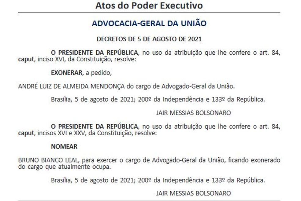 Bolsonaro nomeia Bruno Bianco para o lugar de André Mendonça na AGU — Foto: Reprodução / Diário Oficial da União