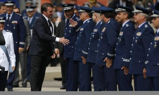 Jair Bolsonaro em evento de militares da Marinha