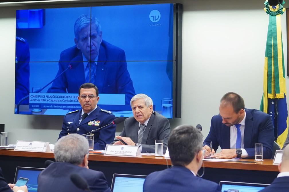 O ministro Augusto Heleno, do Gabinete de Segurança Institucional, durante audiência na Câmara dos Deputados na manhã desta quarta-feira (10) — Foto: Pablo Valadares/Câmara dos Deputados