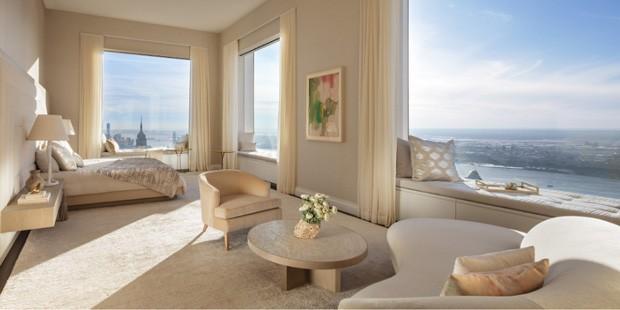 Quarto de um apartamento na Park Avenue, 432, onde a cantora Jennifer Lopez comprou um apartamento com seu namorado (Foto: DBOX for CIM Group/Macklowe Properties / Reprodução)