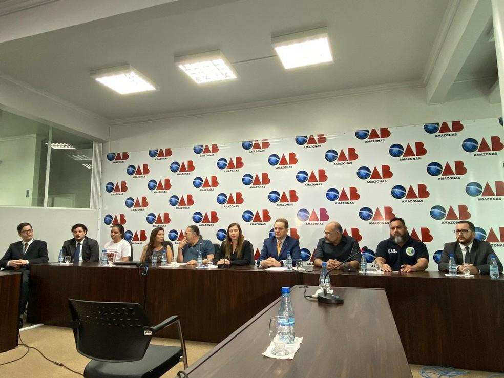 OAB apresentou, em coletiva de imprensa, laudo técnico sobre imagens do momento da confusão dentro da casa noturna — Foto: Carolina Diniz