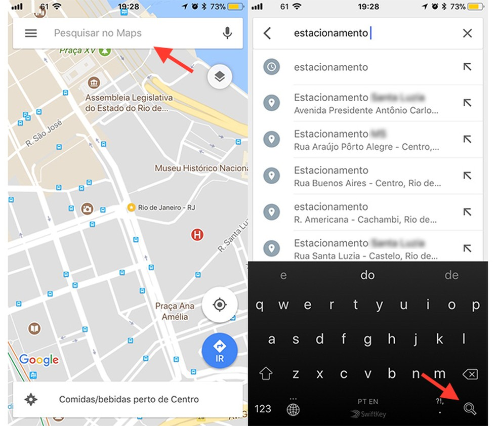 Ação para pesquisar estacionamentos no Google Maps (Foto: Reprodução/Marvin Costa)