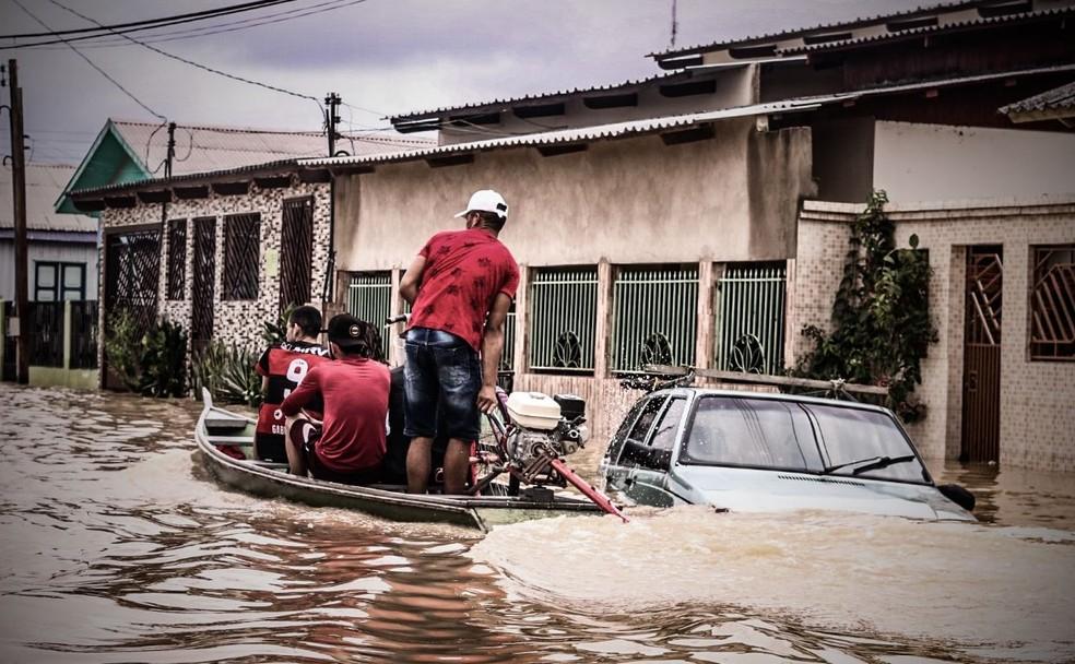 Cheia dos rios afeta mais de 121 mil pessoas em todo Acre  — Foto: Juan Diaz/Arquivo pessoal