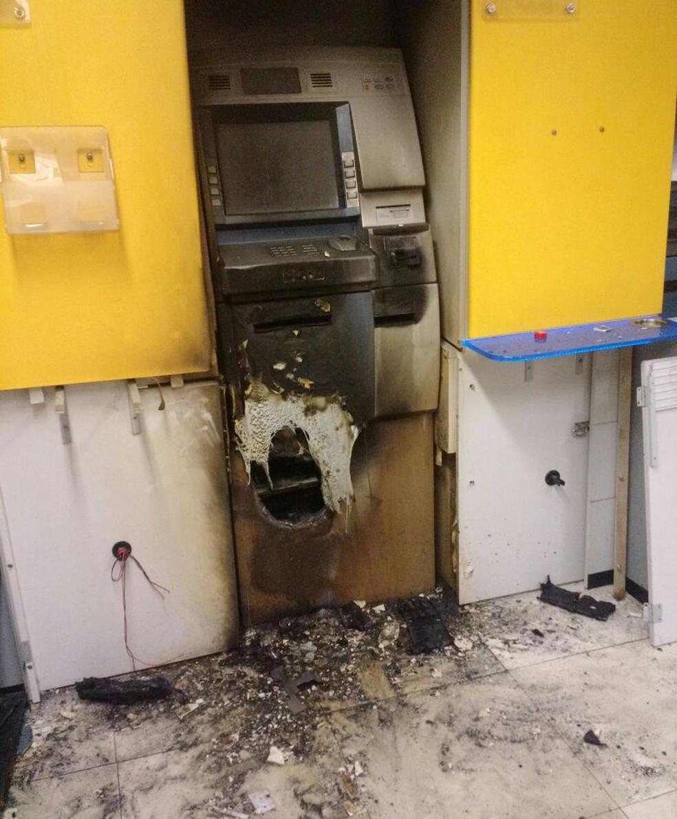 Terminal violado na agência do Banco do Brasil no RN (Foto: Eduardo Rodrigues / Inter TV Cabugi)