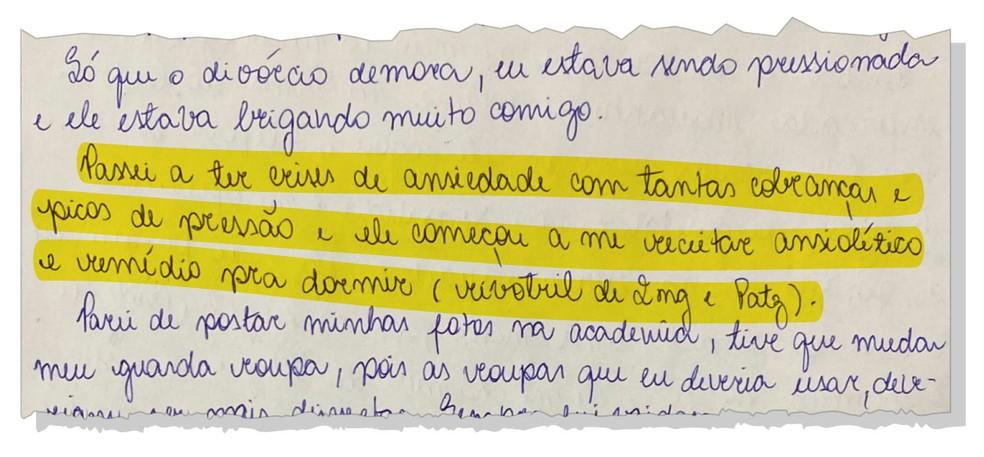 Monique escreveu que Jairinho passou a dar remédio para ela — Foto: Reprodução