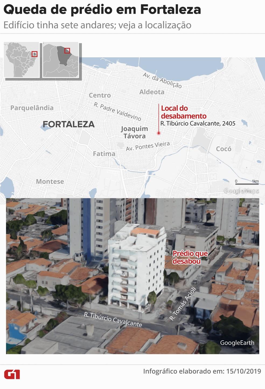 Mapa: veja a localização do prédio que desabou em Fortaleza — Foto: Infográfico: Juliane Monteiro/Arte G1