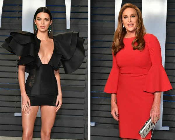 Kendall Jenner e Caitlyn Jenner na festa pós-Oscar da revista Vanity Fair (Foto: Getty Images)