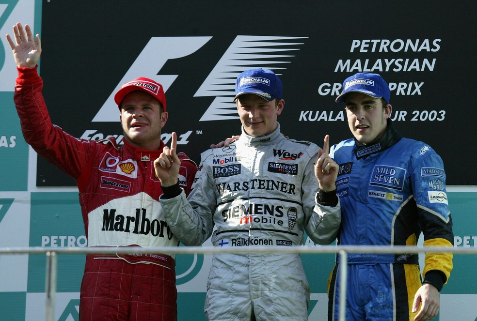 GP da Malásia de 2003 marcou primeira vitória de Kimi Raikkonen na F1 (Foto: Getty Images)