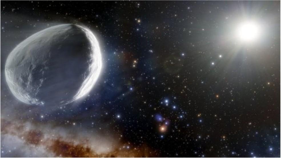 Maior dos dois asteroides, Didymos, tem 780 metros de diâmetro. Ao redor dele, orbita satélite natural menor, chamado Dimorphos — Foto: Nasa