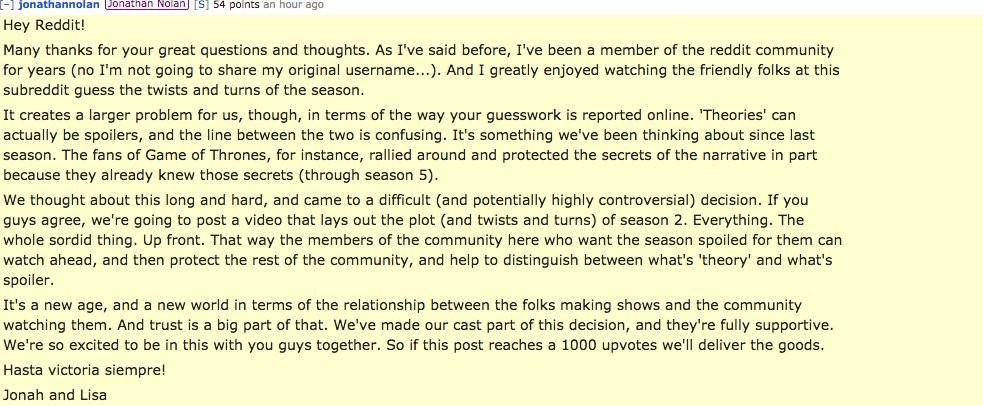 Anúncio feito por Nolan e Joy sobre spoilers de Westworld no Reddit (Foto: Reprodução/Reddit)