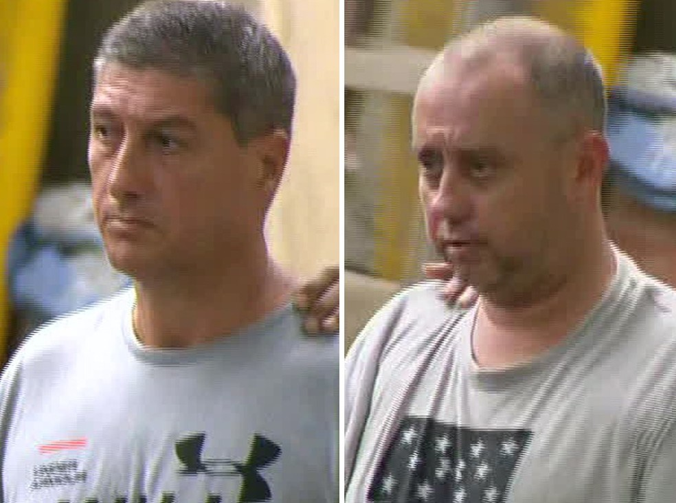 Ronnie Lessa e Élcio Queiroz vão a audiência de custódia — Foto: Reprodução/TV Globo