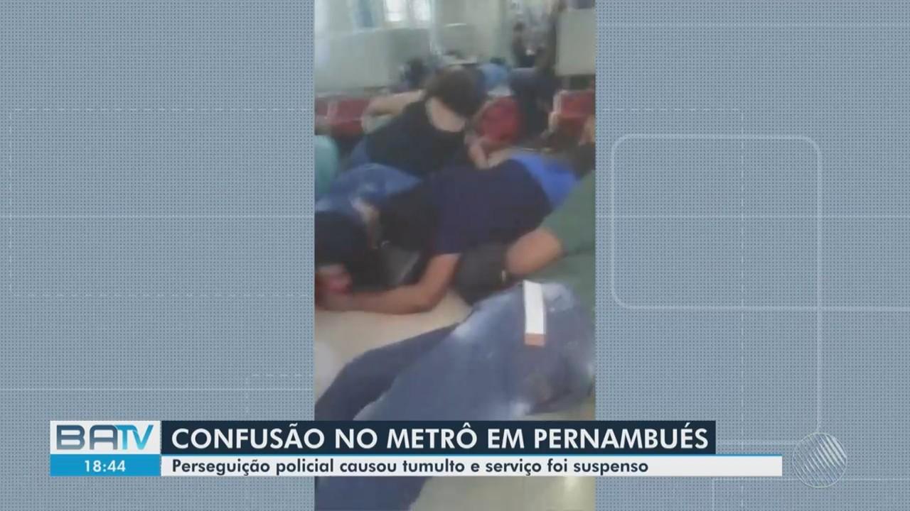 Perseguição policial causa tumulto dentro do metrô, no bairro de Pernambués em Salvador