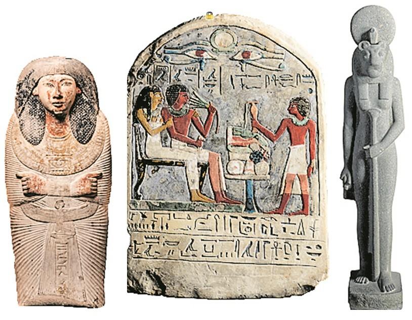 As peças da coleção de Egito Antigo