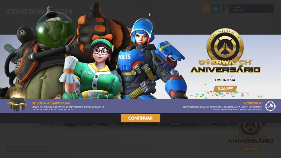 Atualização com evento de Aniversário do Overwatch chegou nesta terça-feira (21) — Foto: Reprodução/Murilo Tunholi