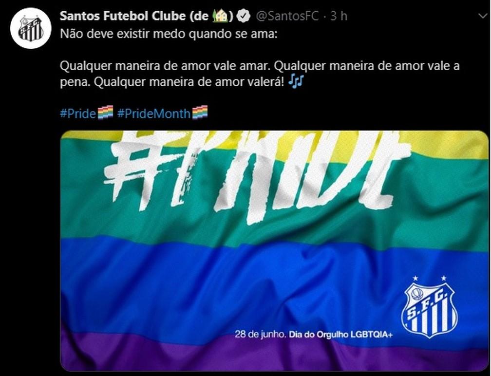 Santos se posiciona no Dia Internacional do Orgulho LGBTQIA+ — Foto: Reprodução