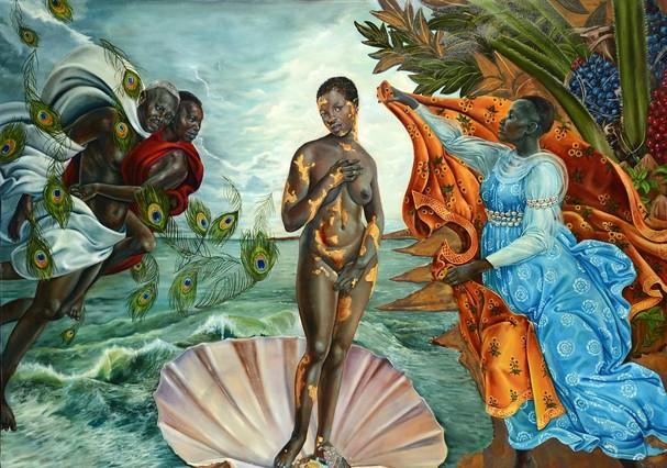 """""""Nascimento de Vênus"""", de Sandro Botticelli, virou """"O Nascimento de Oxum"""" por Harmonia Rosales  (Foto: Reprodução/Instagram)"""