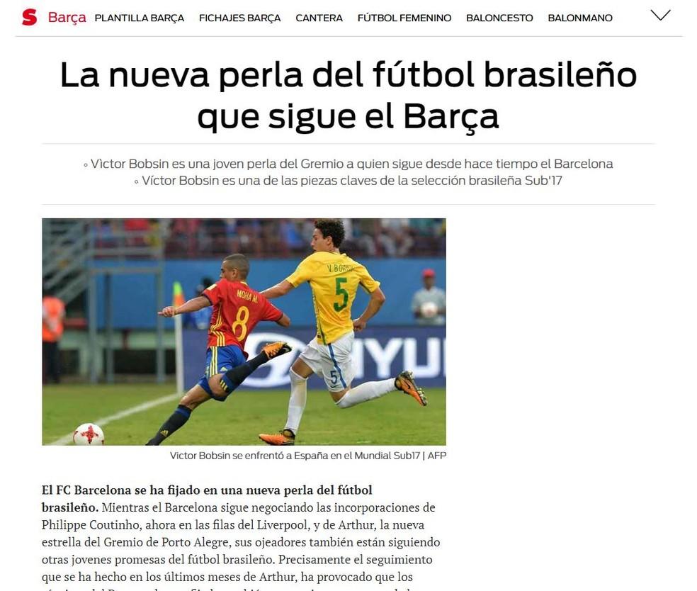 Victor Bobsin entra no radar do Barcelona, diz jornal  (Foto: Reprodução )