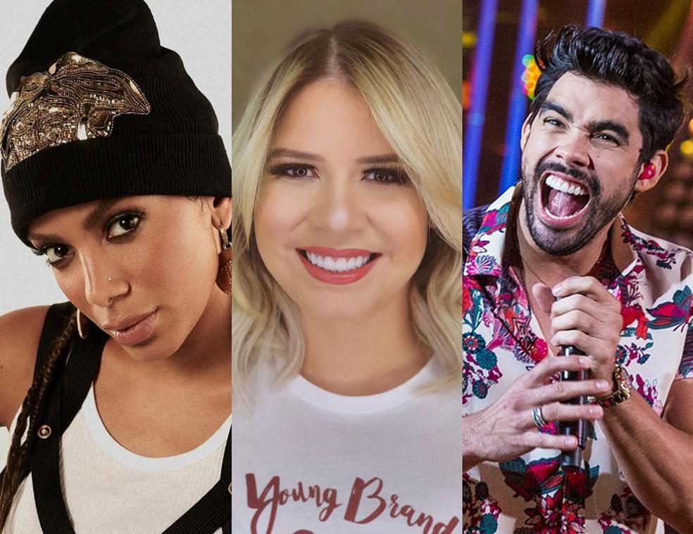Anitta, Marília Mendonça e Gabriel Diniz foram indicados aos Prêmio Multishow 2019 — Foto: Reprodução/Instagram e Fábio Rocha/TV Globo