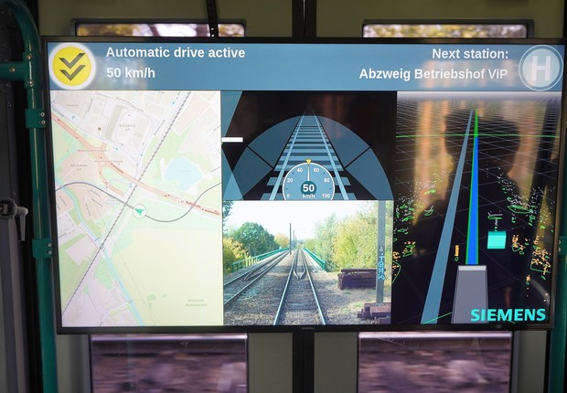 Bonde da Siemens monitora informações em tempo real (Foto: Divulgação)