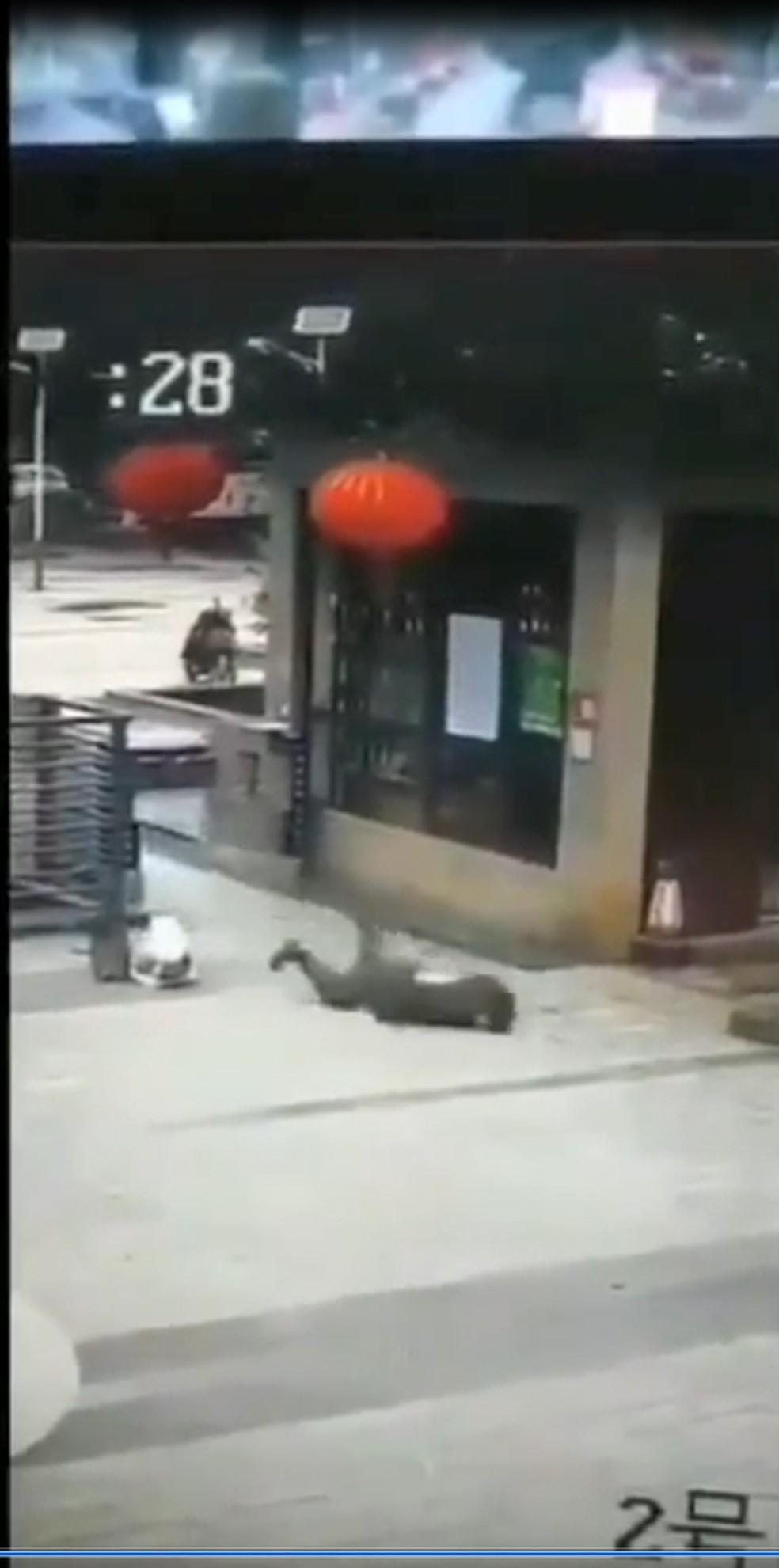 Homem cai em estacionamento — Foto: Reprodução