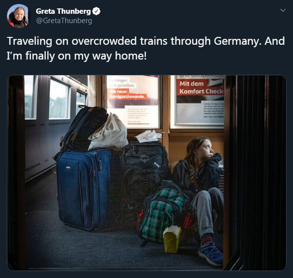 Greta Thunberg publica foto em viagem de trem no Twitter — Foto: Reprodução/Twitter/GretaThunberg