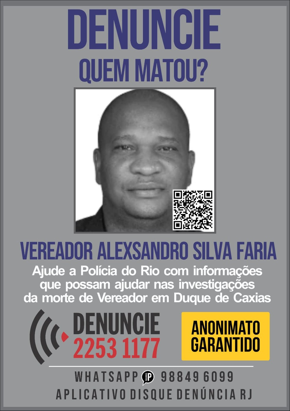 Portal dos Procurados divulga cartaz pedindo informações sobre a morte de Alexsandr Silva Faria, conhecido como Sandro do Sindicato — Foto: Divulgação/ Portal dos Procurados