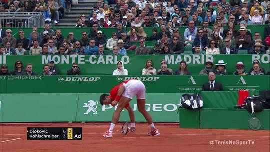 Djokovic passa sufoco, mas vence revanche contra Kohlshcreiber e avança em Monte Carlo