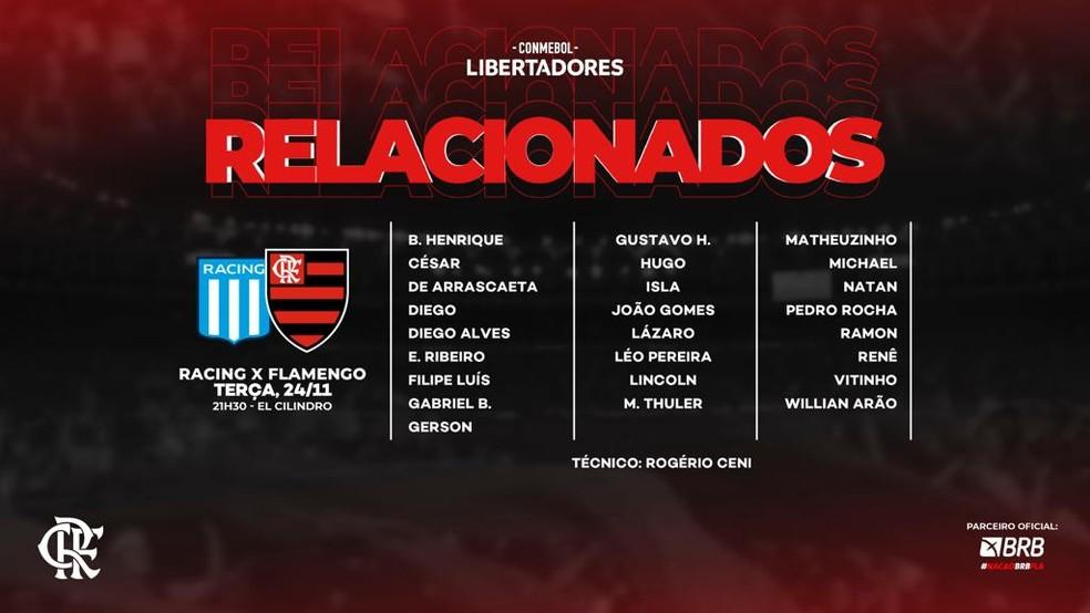 Relacionados Flamengo Racing — Foto: Divulgação