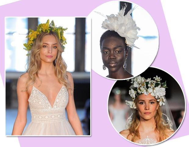 Acessórios com flores apareceram no desfile da Watters e Reem Acra na Bridal Fashion Week de Nova York (Foto: Imaxtree)
