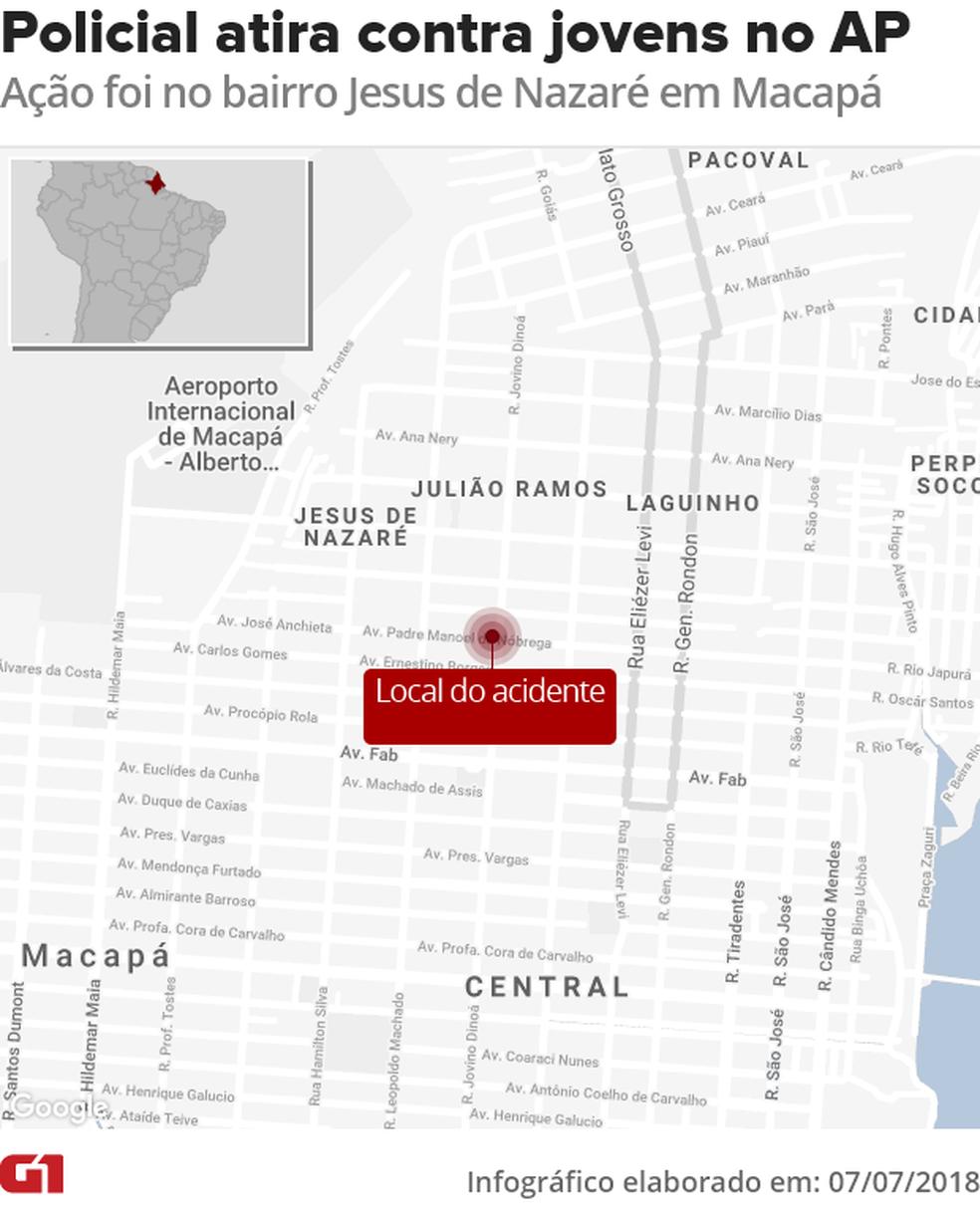 Mapa mostra local onde disparos foram feitos (Foto: Arte/G1)