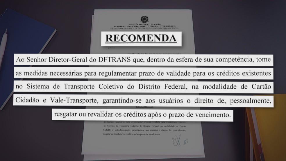 Recomendação do MP para sistema de bilhetagem do DFTRans — Foto: TV Globo/Reprodução