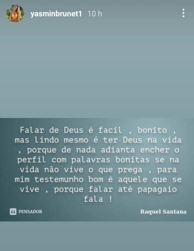 Yasmin Brunet posta frases reflexivas  (Foto: Reprodução/Instagram)