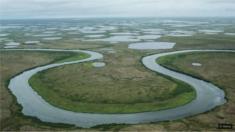 O derretimento do permafrost está transformando as paisagens do Alasca — Foto: Alamy