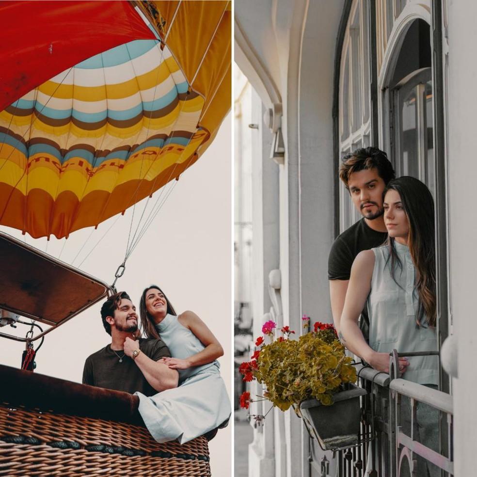 Luan Santana e Jade Magalhães fizeram um ensaio romântico para comemorar a nova fase do relacionamento em viagem para Portugal — Foto: Bruno Fioravanti/Divulgação