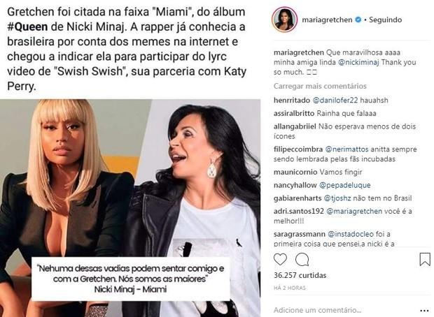 Post de Gretchen falando da nova música de Nicki Minaj (Foto: Reprodução/Instagram)