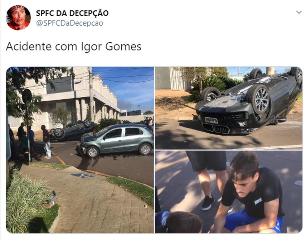 Igor Gomes, do São Paulo, se envolve em acidente de carro — Foto: Reprodução/Twitter